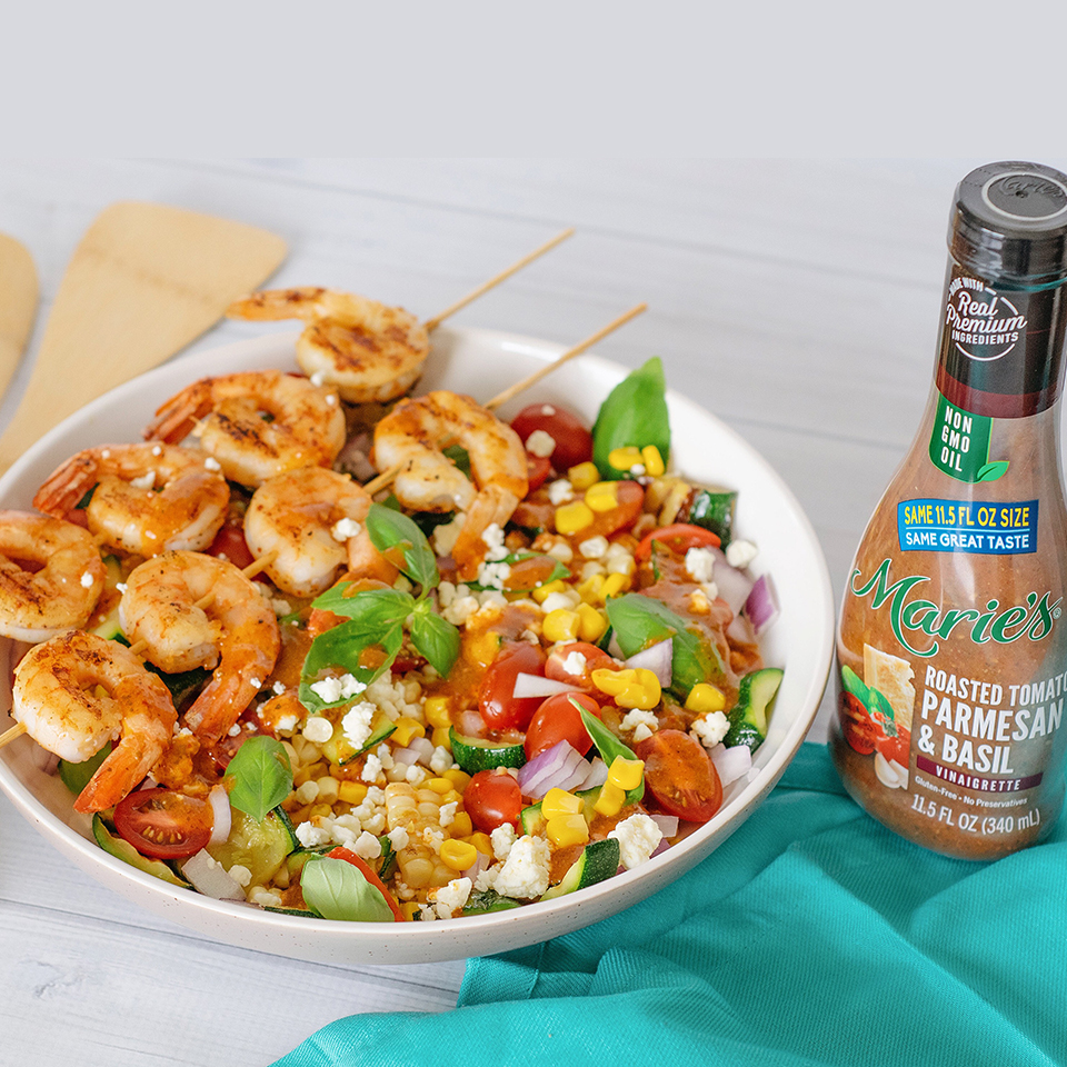 Roasted Tomato, Grilled Corn, and Shrimp Salad