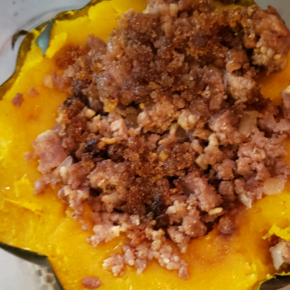 Acorn Squash with Sweet Spicy Sausage