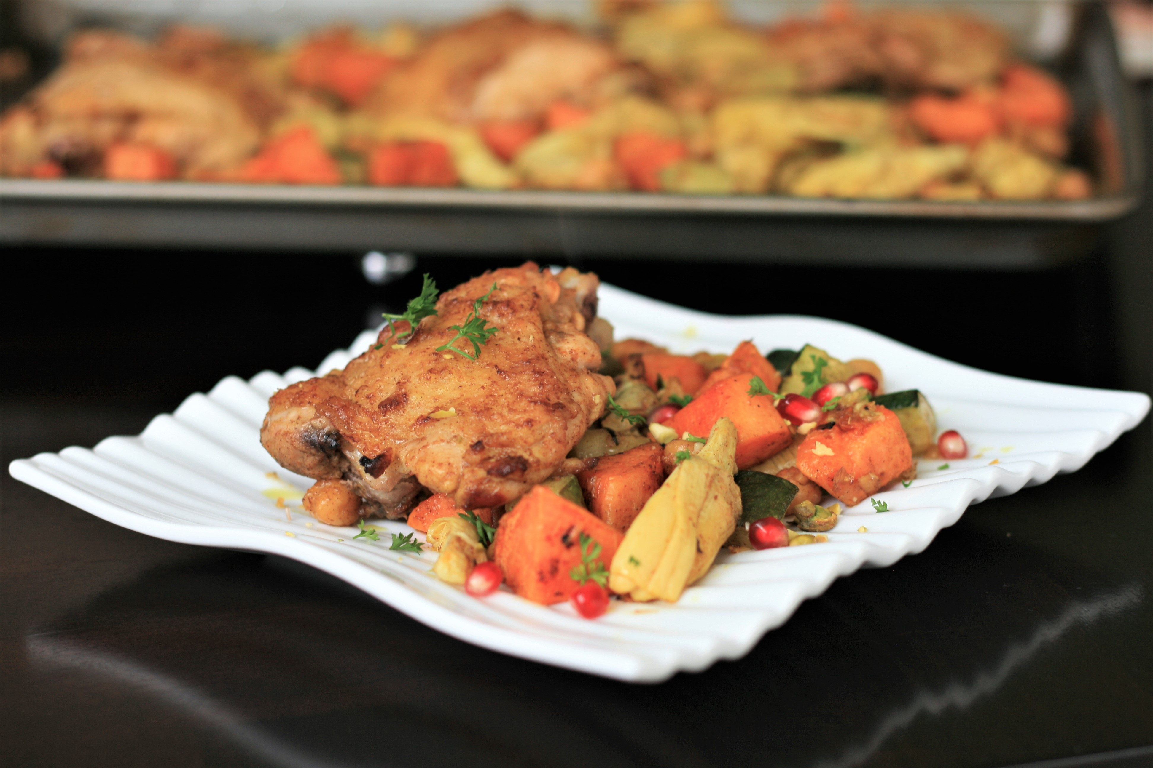 Moroccan Chicken Thigh Sheet Pan Dinner