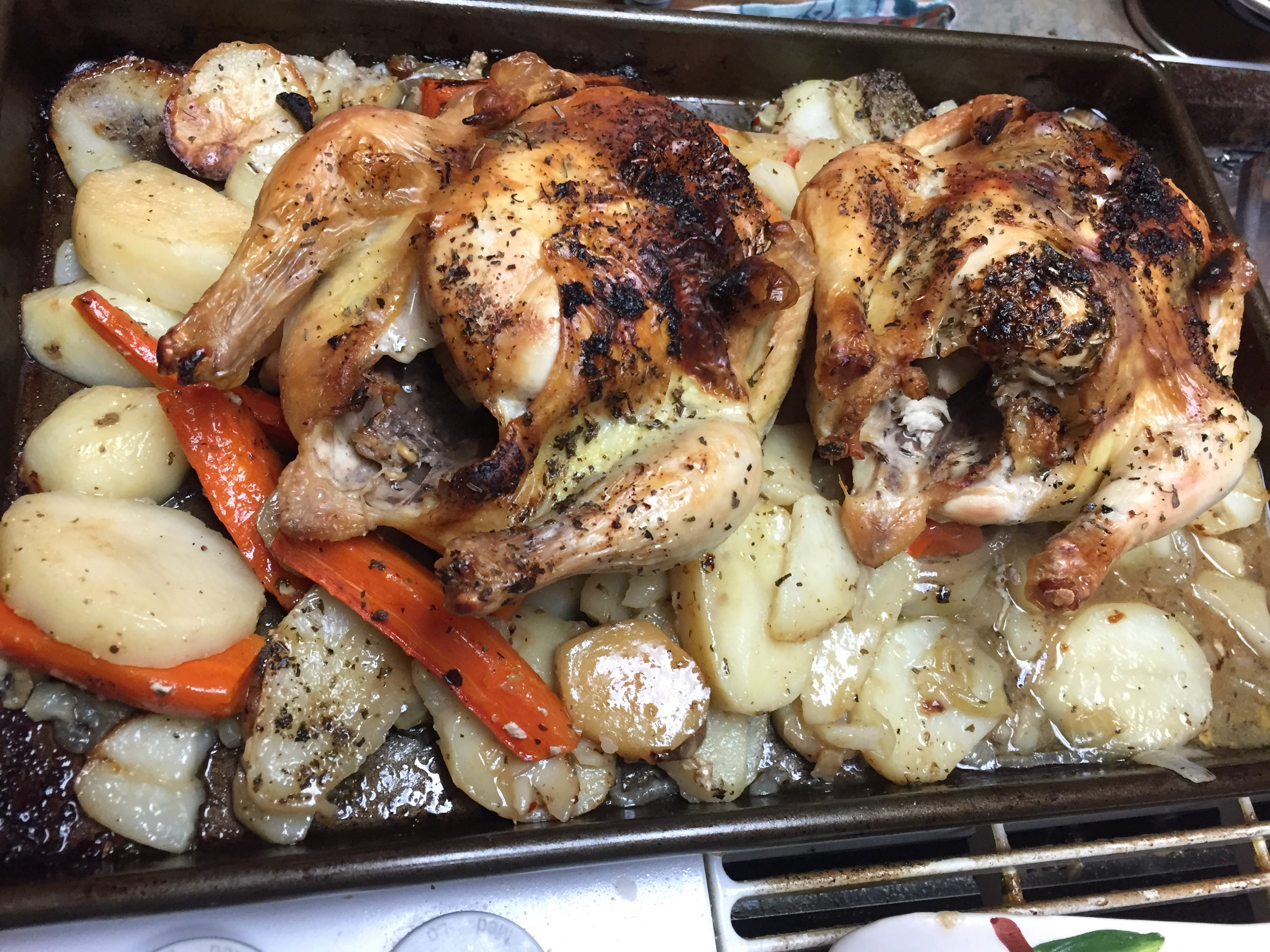 Sheet Pan Thanksgiving Cornish Hen Dinner