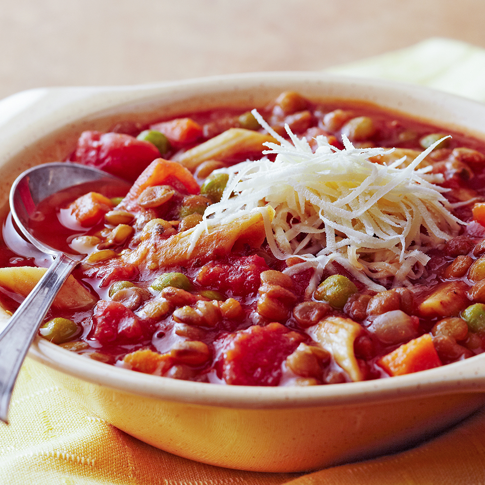 Having company and lacking dinner inspiration? This Italian-inspired lentil soup may be the answer. It uses ingredients you'd commonly have on hand (including frozen vegetables) and can be on the table in about an hour.Source: Diabetic Living Magazine