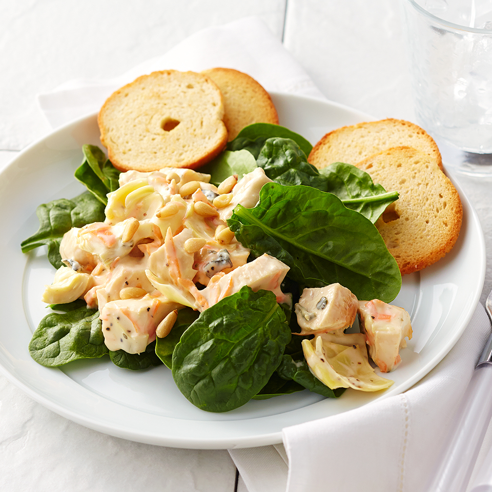 This salad comes together in a snap. Using leftover chicken, canned artichoke hearts, packaged shredded carrots and a ready-made veggie dip, this quick-and-easy salad will be on your table in just 15 minutes! Source: Diabetic Living Magazine