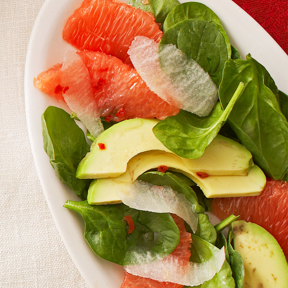 Ready in just 15 minutes, this spinach salad with grapefruit sections delivers a lovely contrast of creamy avocado and crunchy jicama in each bite.Source: Diabetic Living Magazine