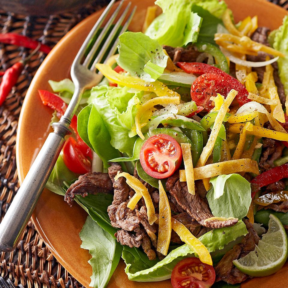 Warm Fajita Salad with Baked Tortilla Strips Diabetic Living Magazine
