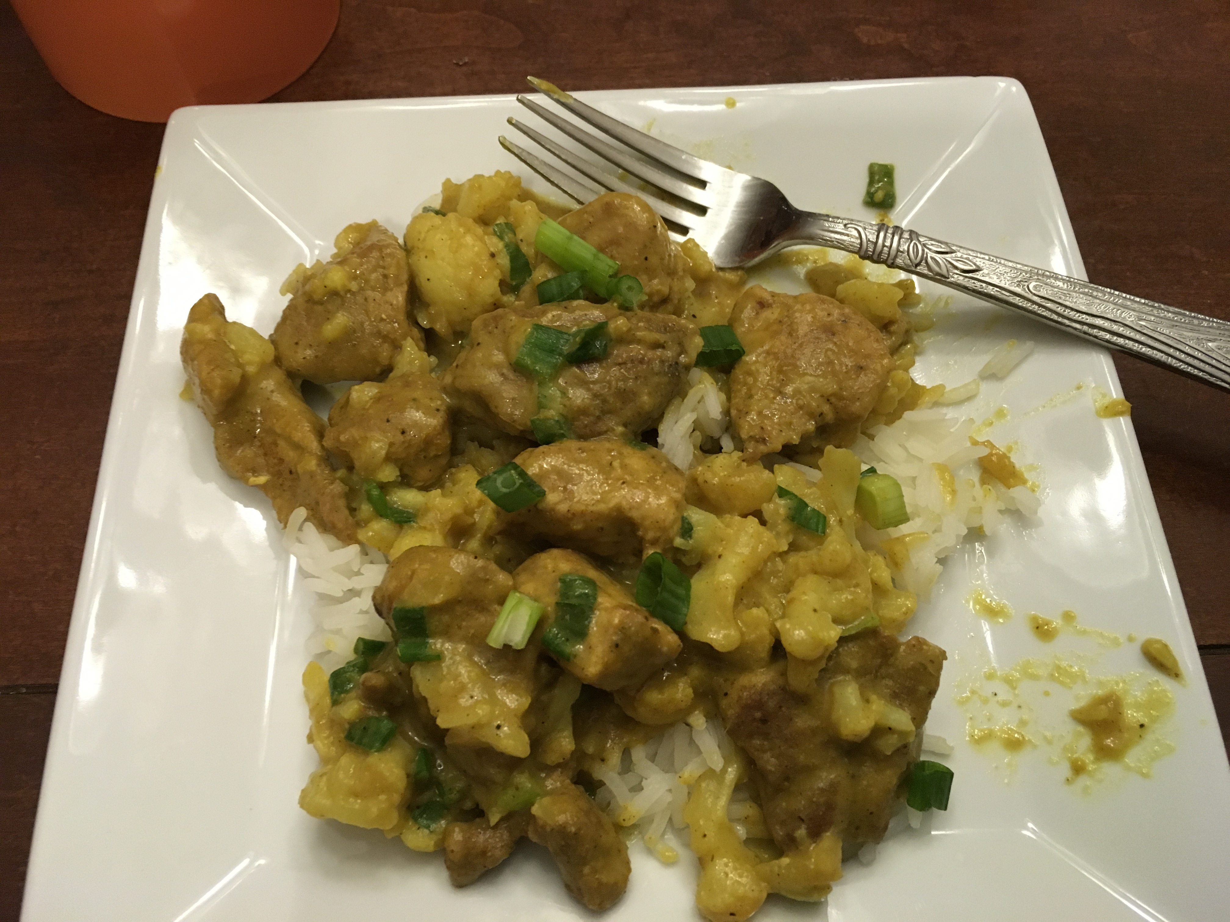 Curried Pork Chops and Cauliflower with Basmati Rice