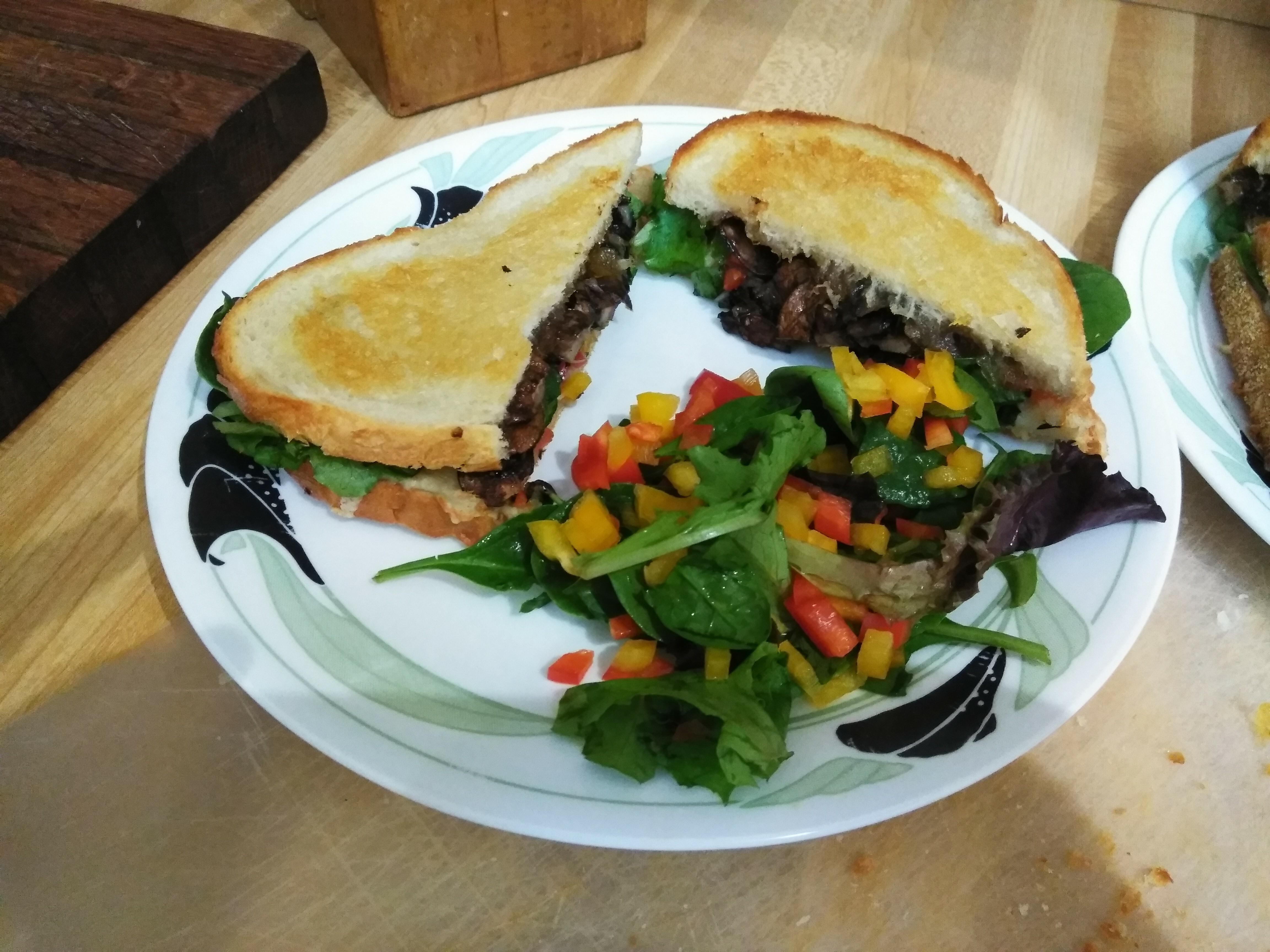 Manchego and Mushroom Sandwiches with Arugula Salad
