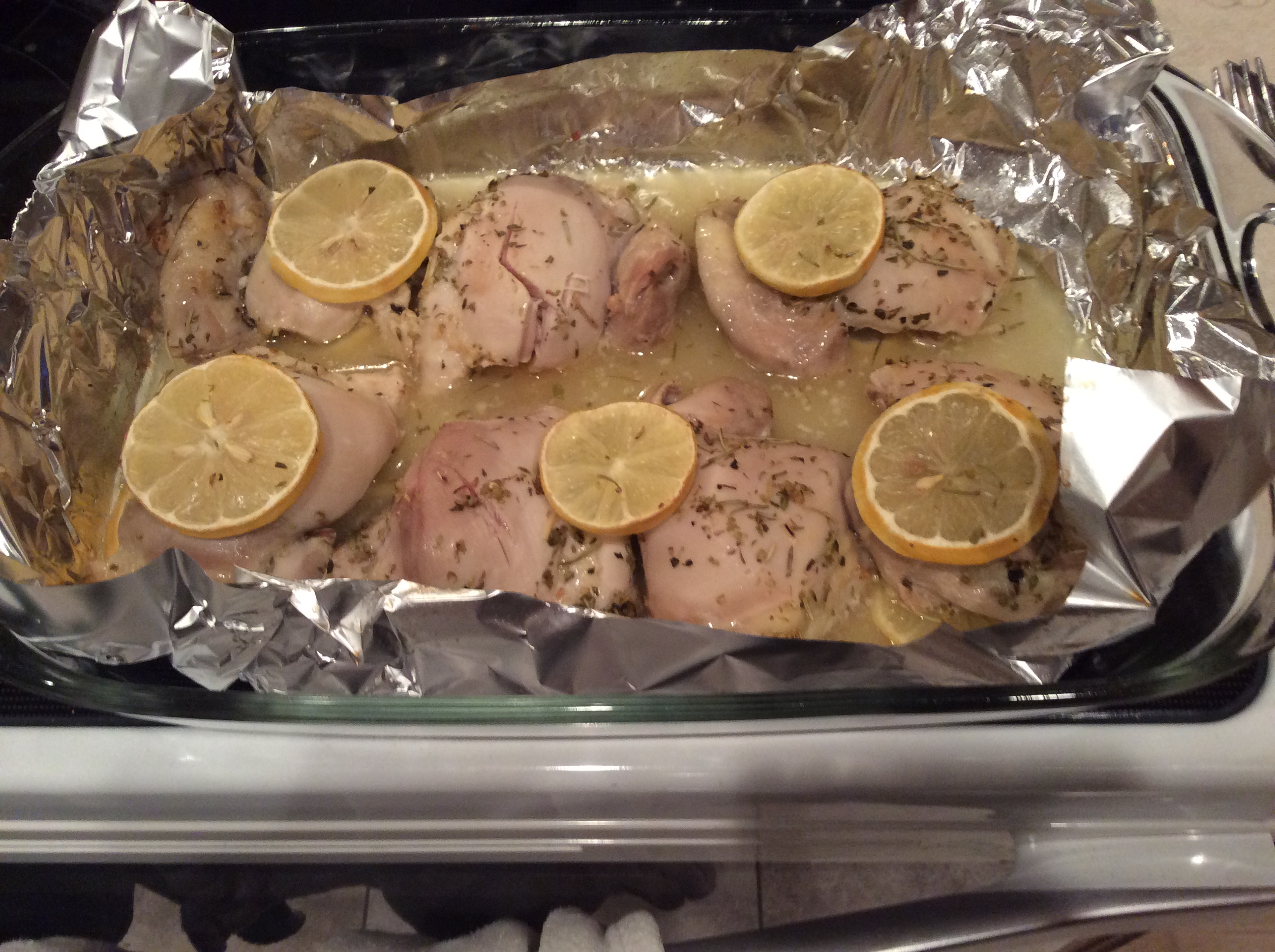 Baked Lemon Chicken Thighs with Mushroom Sauce Chad N Anna Bell
