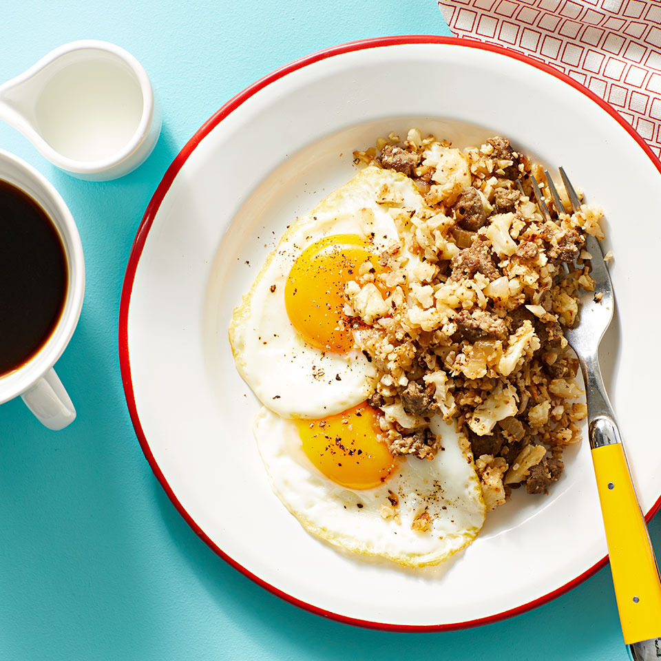 Cauliflower Hash with Sausage & Eggs Abbie Gellman, M.S., RD, CDN