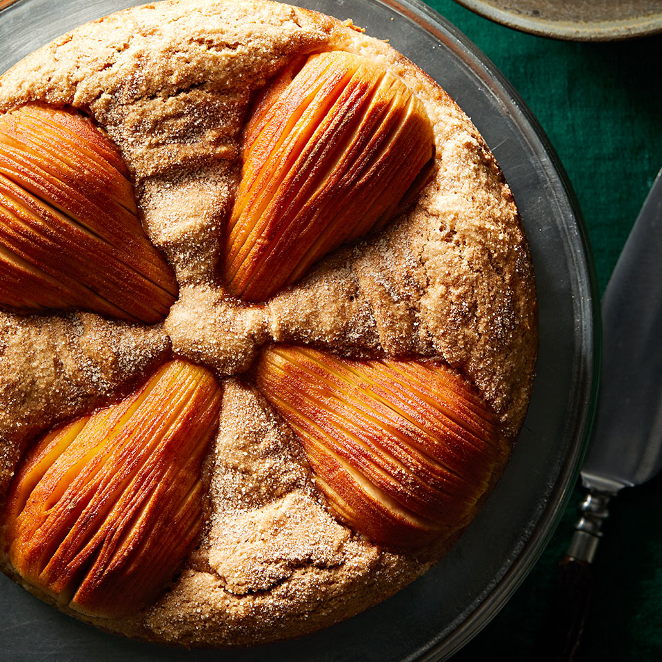 This stunning pear cake uses almond flour in place of some all-purpose flour, reducing carbs and adding protein and fiber. But its real appeal is its presentation: display this pretty dessert on a cake stand for guests to admire before you slice and serve it.