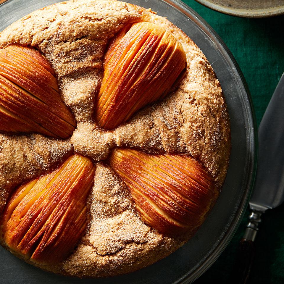 Hasselback Pear Cake