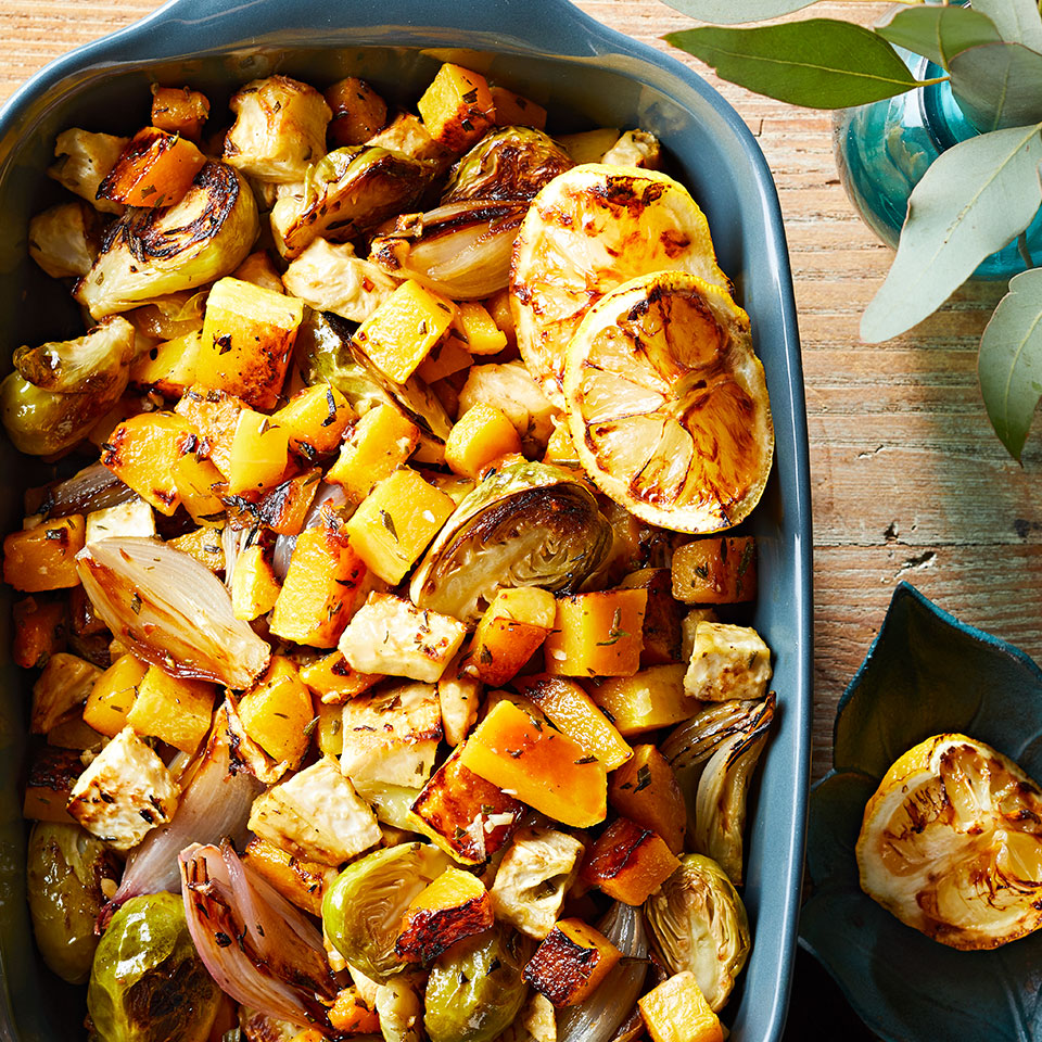 Brussels sprouts, butternut squash, and celery root make up a colorful roasted vegetable medley. If you can't find celery root (also called celeriac) you can swap in another root vegetable such as carrots, parsnips, or turnips. Source: Diabetic Living Magazine, Winter 2019