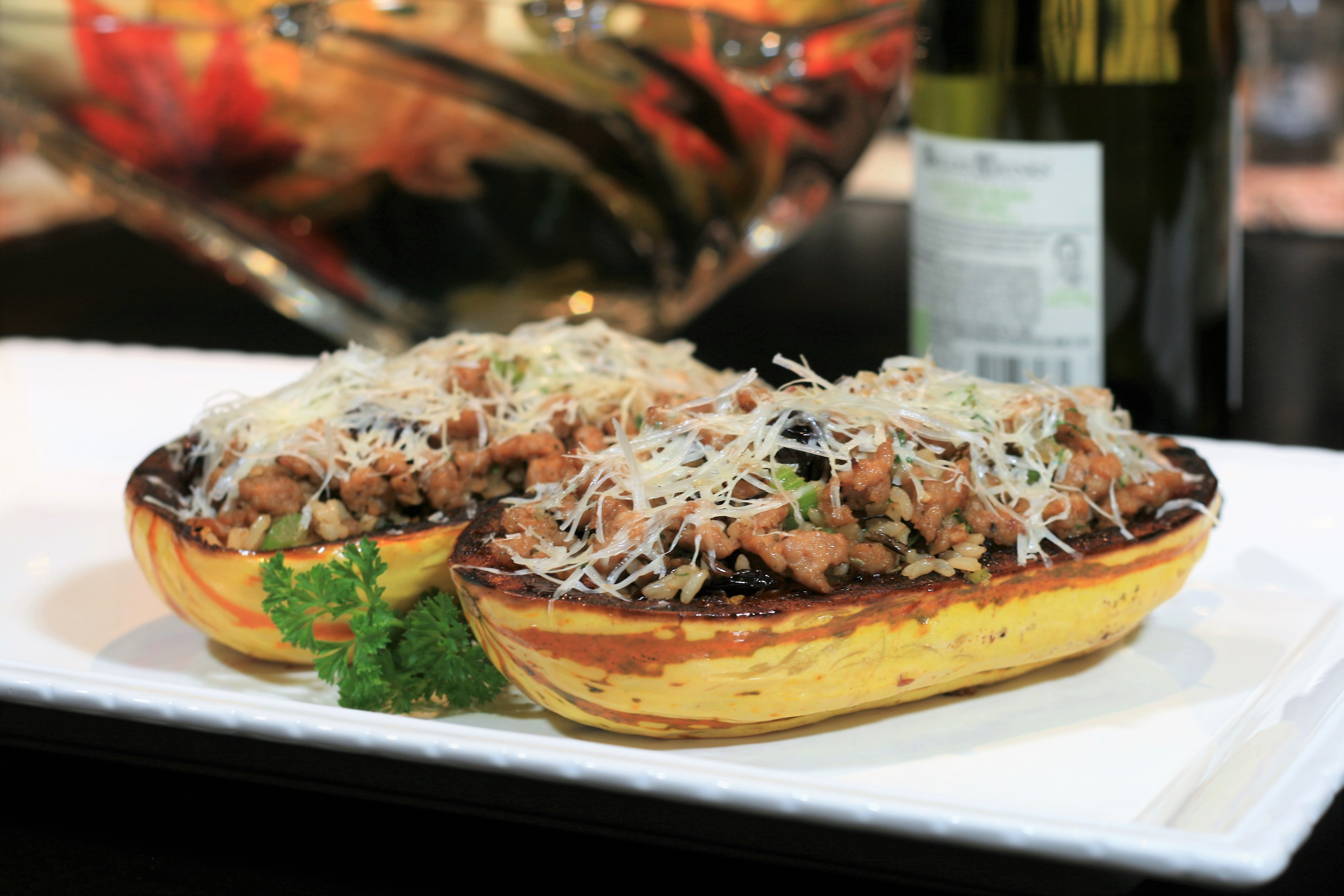 Turkey Sausage-Stuffed Delicata Squash