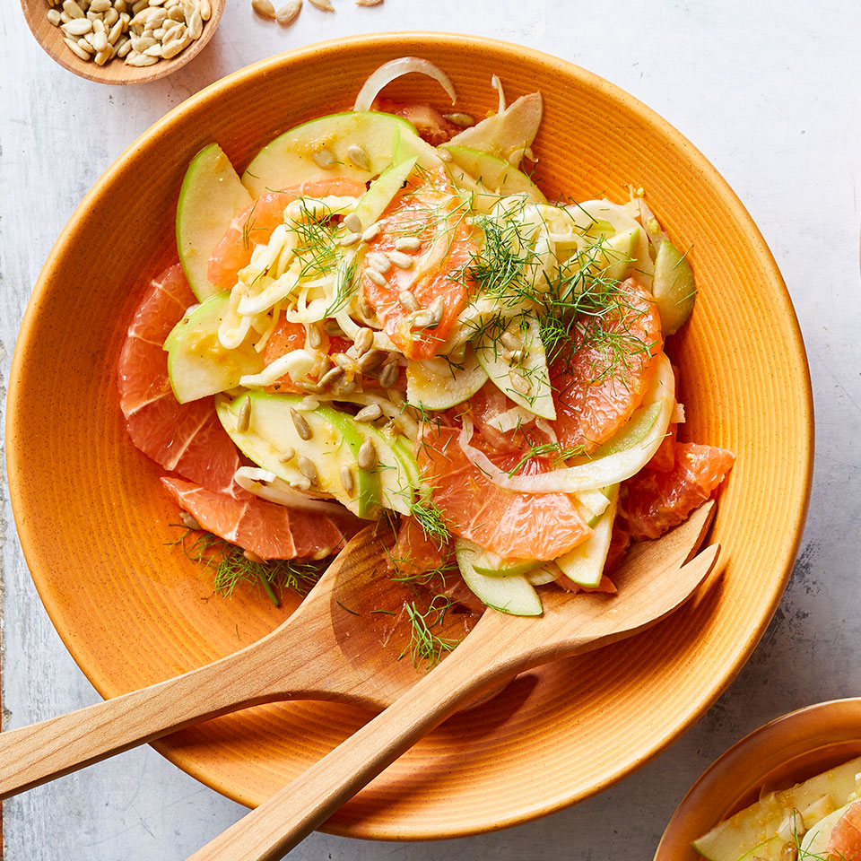 This quick and colorful side salad is a lovely accompaniment to fish, chicken, or pork. When slicing the fennel, don't discard the fronds! The wispy green tips resemble fresh dill and provide a colorful, anise-flavored garnish. Source: Diabetic Living Magazine, Winter 2019