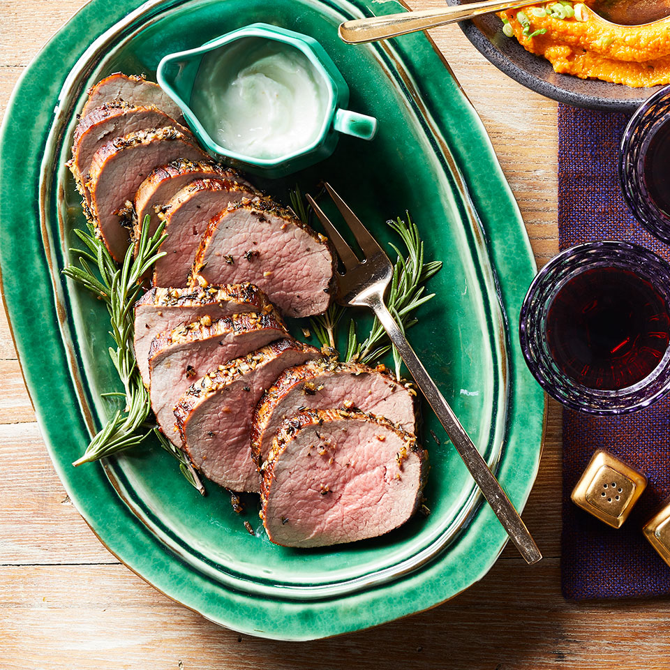 Garlic-Rosemary Roast Beef with Horseradish Sauce Lauren Grant
