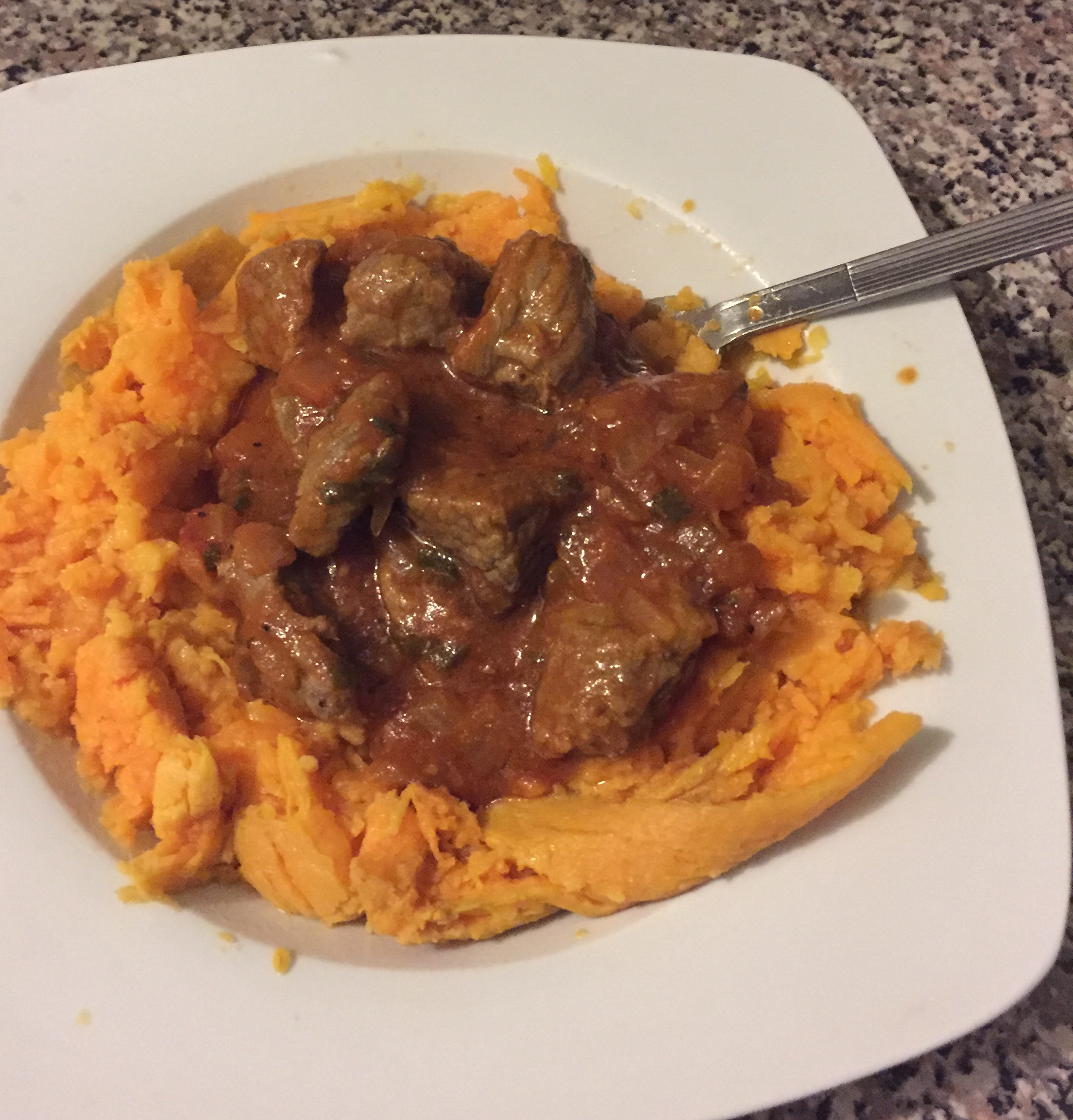 Red Chile Braised Beef Stew over Mashed Sweet Potatoes Michelle MC