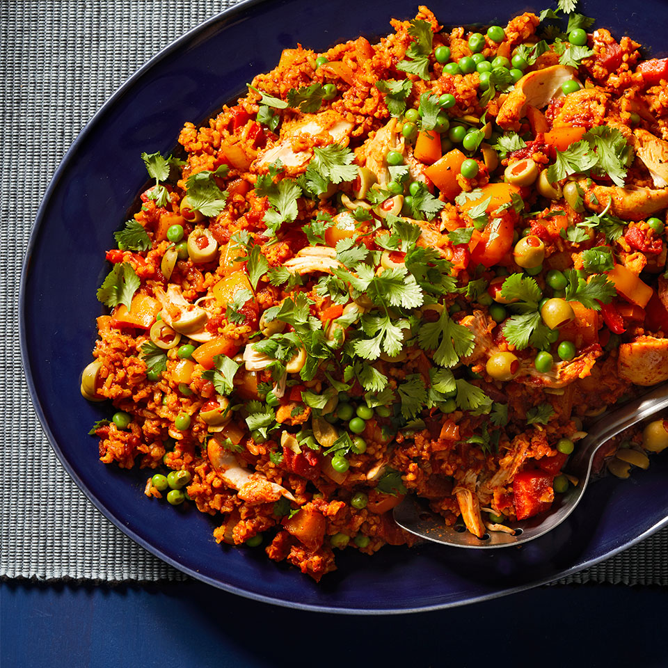 This Mexican-inspired one-pot chicken dinner comes together easily in the crock pot. The instant brown rice is added near the end, to keep it from overcooking. Source: Diabetic Living Magazine, Winter 2019