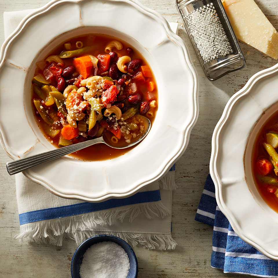A winter classic, this crock pot version of minestrone is heavy on the vegetables and light on the pasta, keeping carbs in check while providing plenty of flavor. Source: Diabetic Living Magazine, Winter 2019
