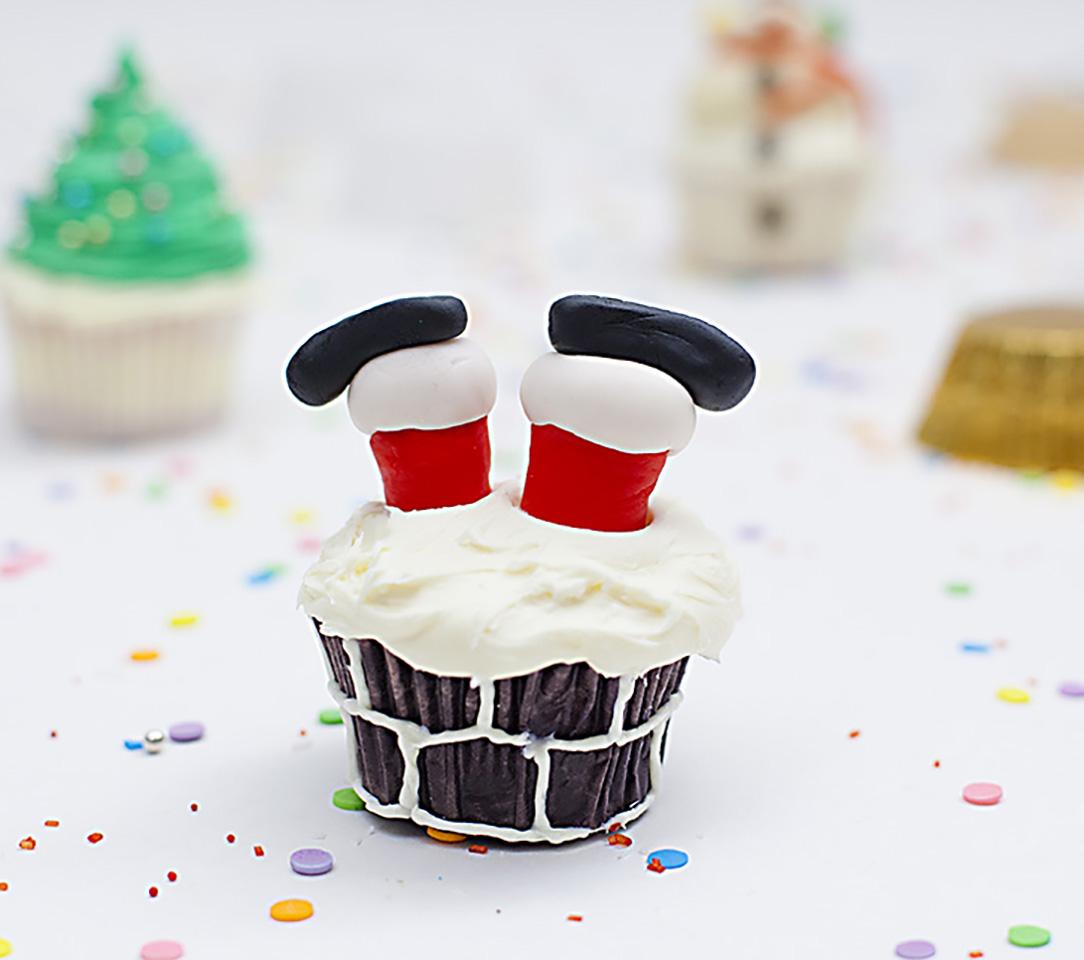 Santa Leg Cupcakes