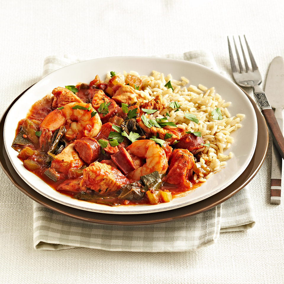 This hearty jambalaya is bursting with chicken, smoked turkey sausage, and shrimp. It takes just 25 minutes to prep in the morning and then your slow cooker will work its magic and deliver a tasty meal at the end of the day. Source: Diabetic Living Magazine