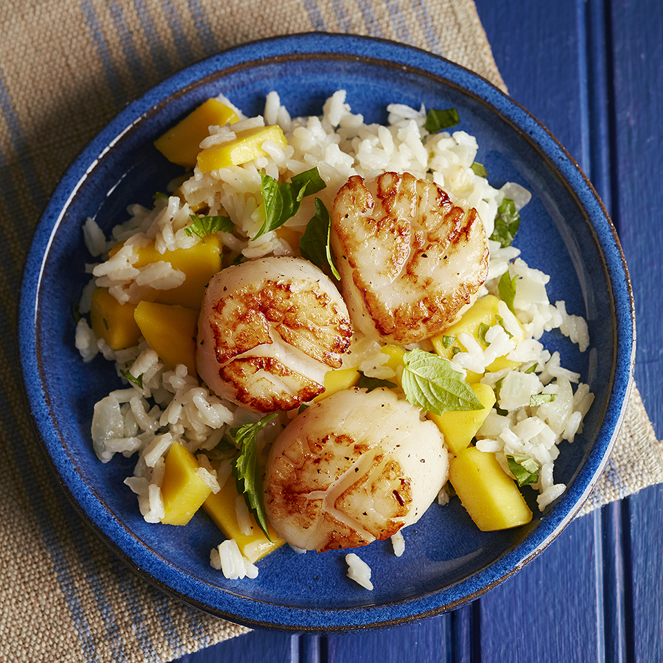 Thai Coconut Basmati Rice with Seared Scallops Diabetic Living Magazine