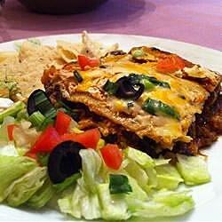 back to layered chicken and black bean enchilada casserole recipe