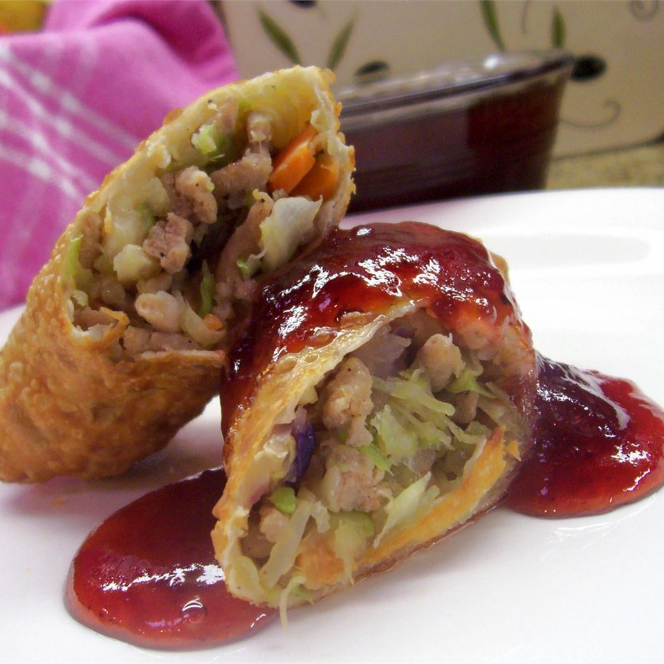 Leftover Turkey Spring Rolls with Cranberry Sweet and Sour Dipping Sauce Traci-in-Cali