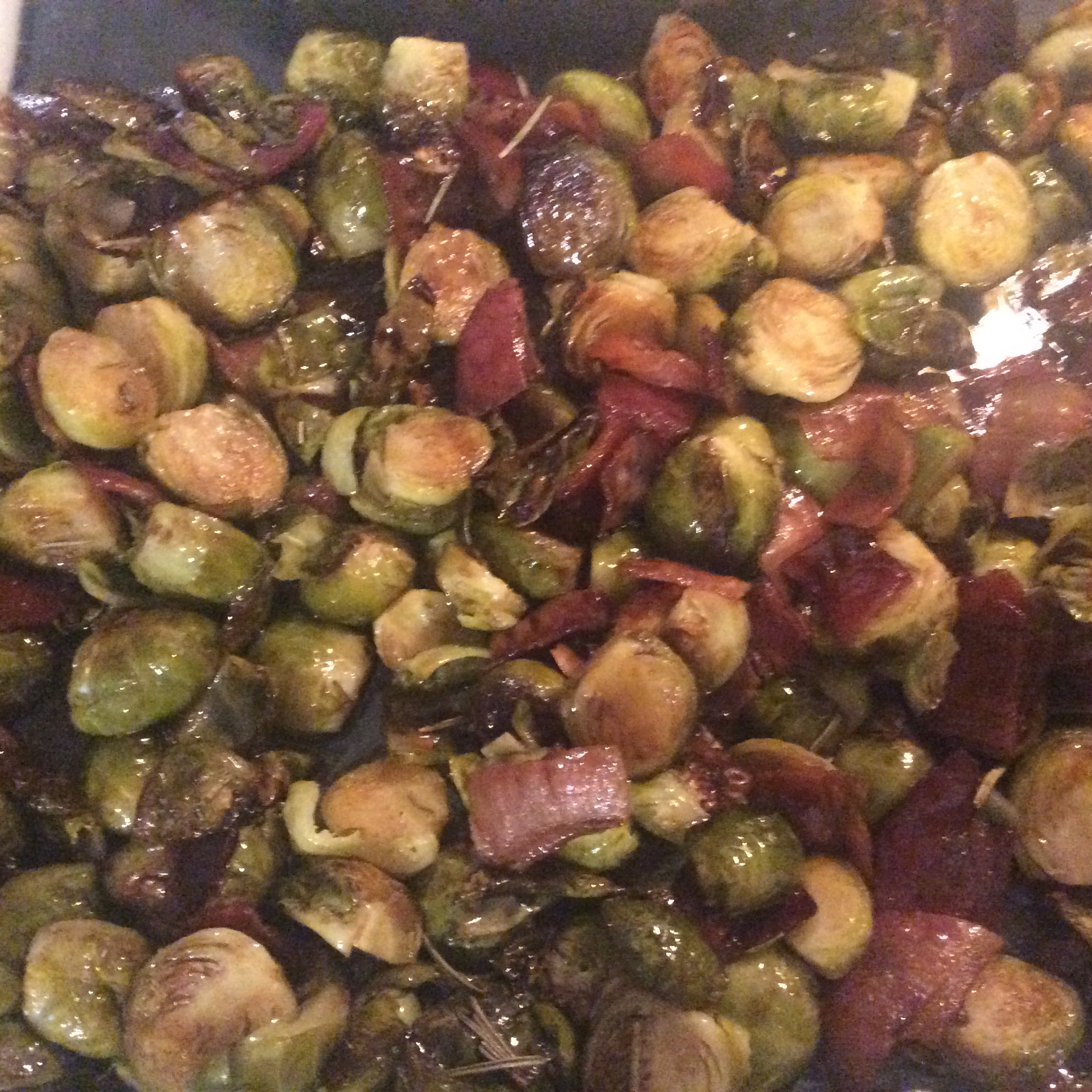 Pancetta Brussels Sprouts with Caramelized Pecans Jay