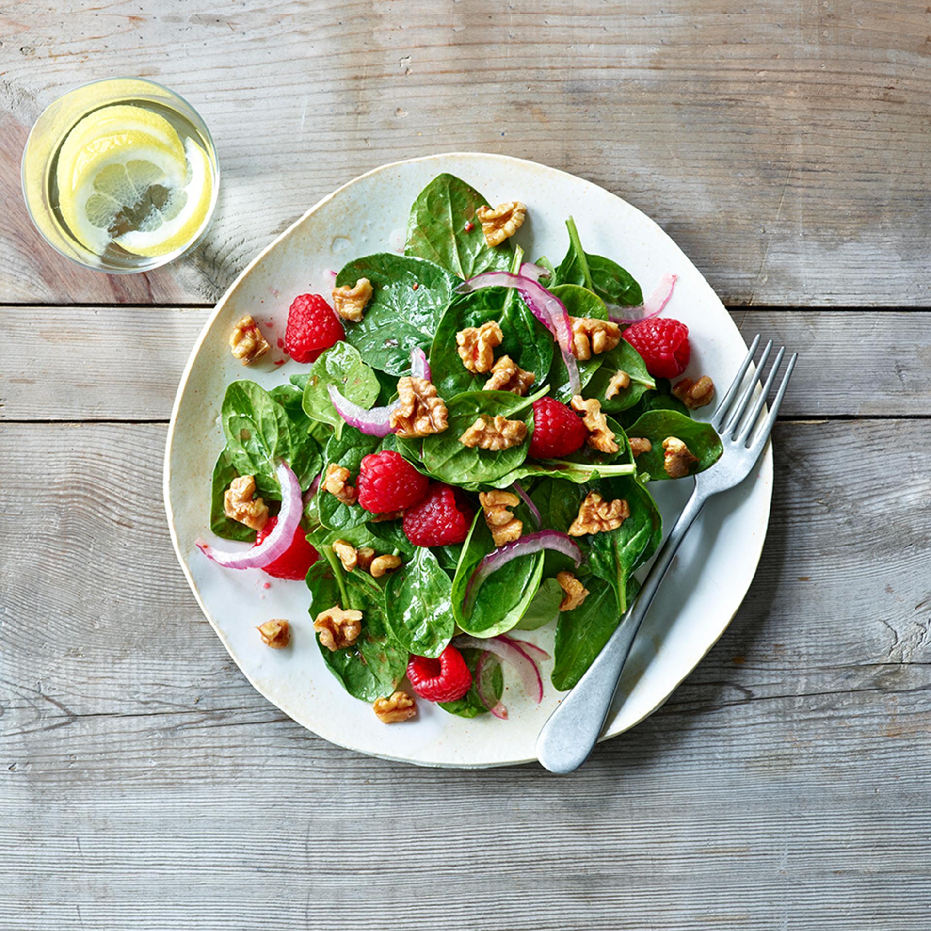 Walnut Raspberry Salad and Raspberry Vinaigrette