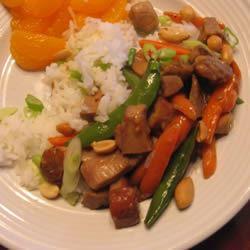 Spicy Pork Stir-Fry Snow likes to cook