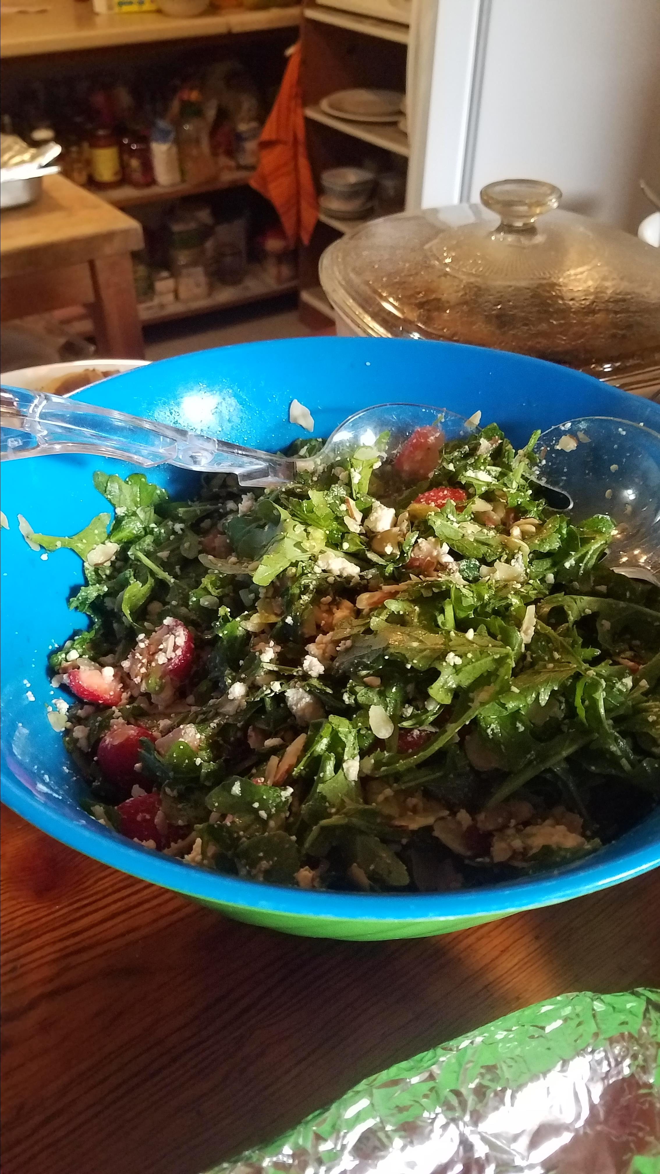 Arugula and Strawberry Salad with Feta Cheese girlcat21 aj