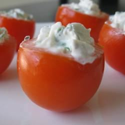 Cherry Tomatoes Filled with Goat Cheese mommyluvs2cook