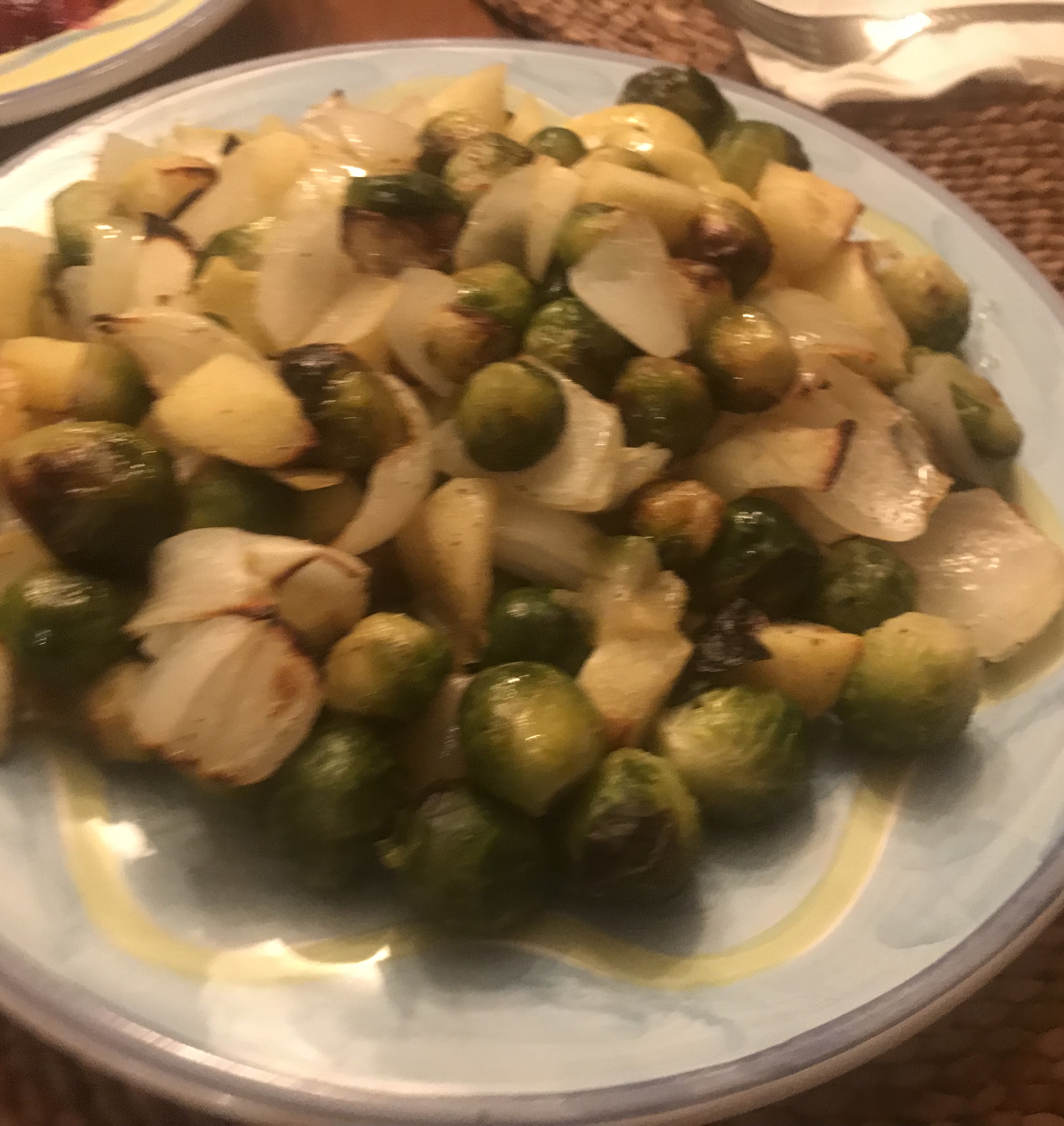 Roasted Apples and Brussels Sprouts leslie