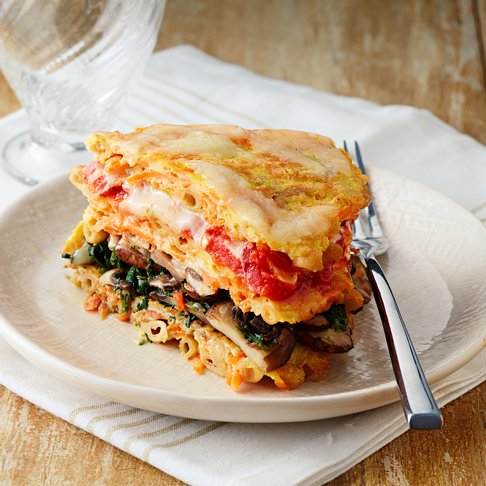 Macaroni Pancakes with Mushrooms, Spinach & Tomatoes Diabetic Living Magazine