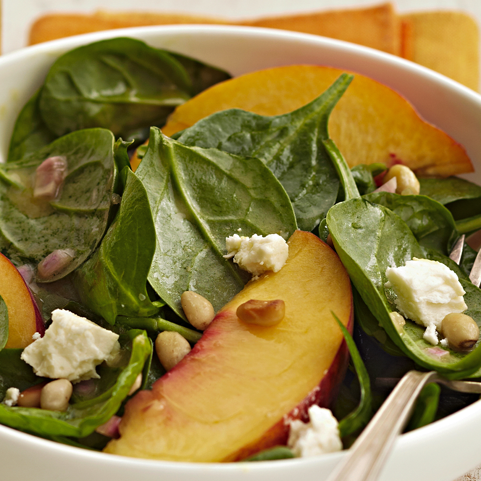 Peach & Spinach Salad with Feta Diabetic Living Magazine