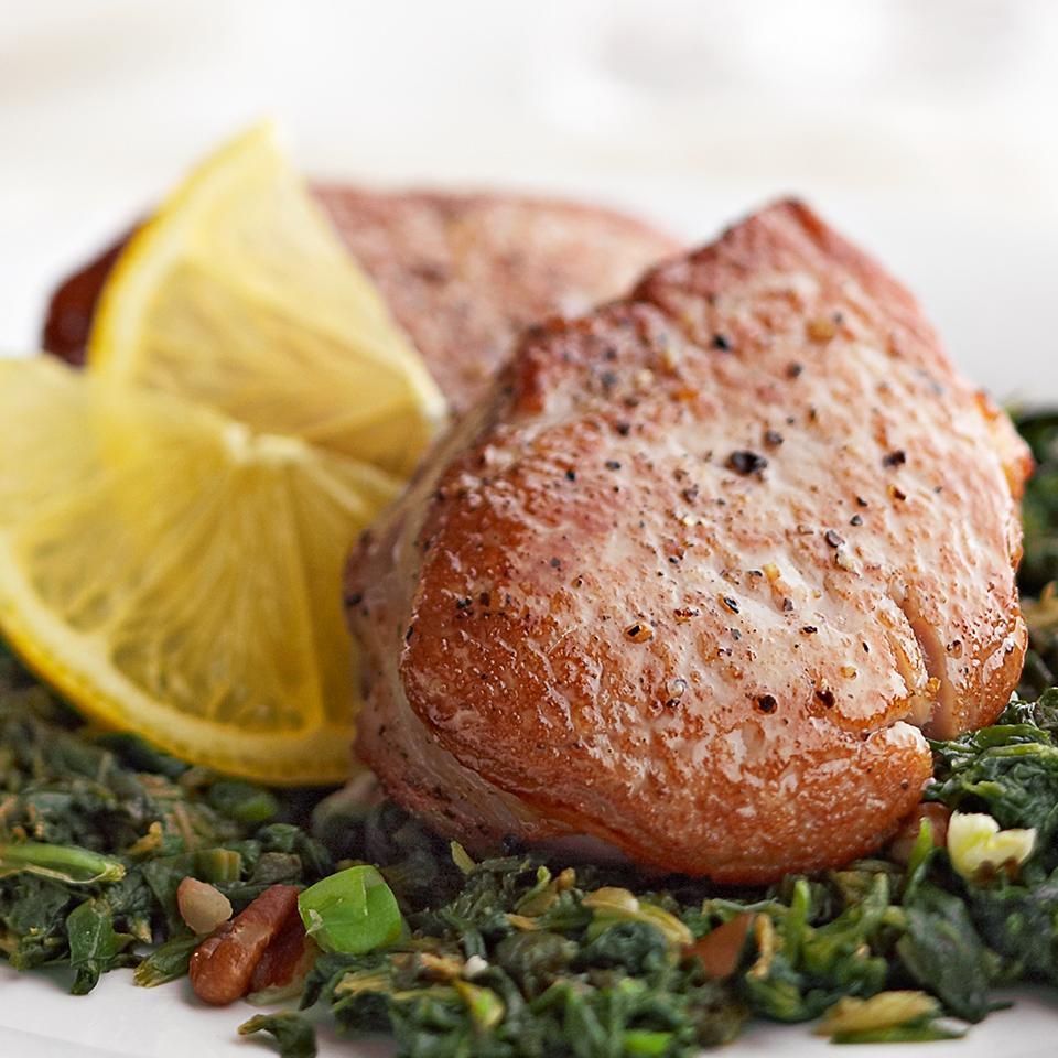 Pork Medallions with Lemon-Pecan Spinach Diabetic Living Magazine