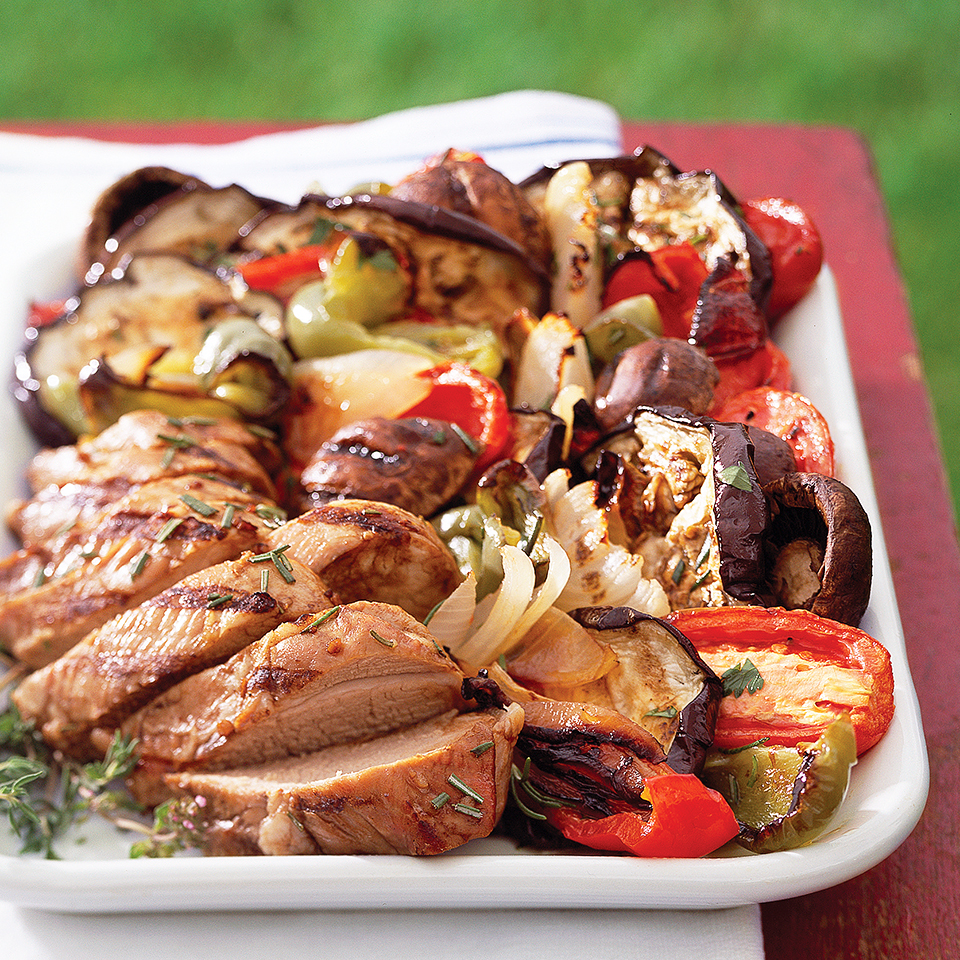 Make use of your entire grill surface the next time you're grilling chicken, fish, or pork. These vegetables are simple to prepare and cook on the grill alongside your main dish. They're topped with a delicious herbed vinaigrette and make a wonderful low-calorie side dish.Source: Diabetic Living Magazine