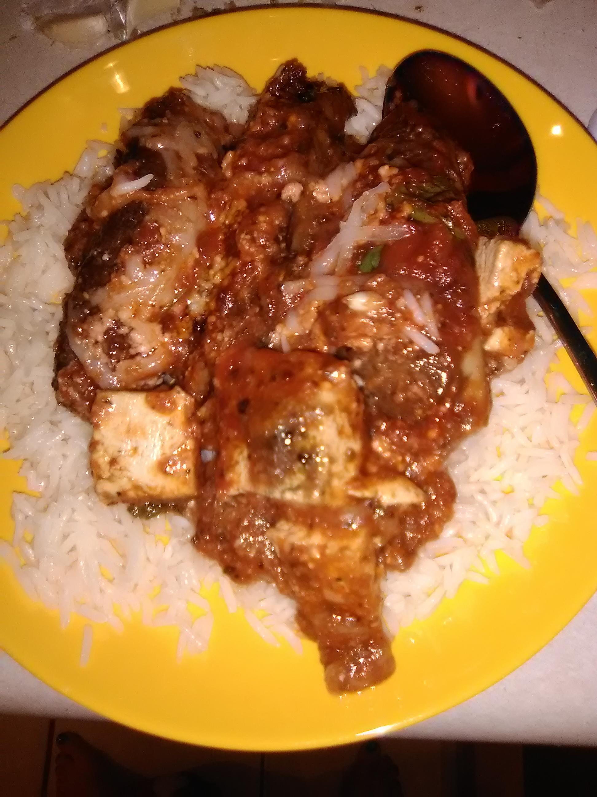 Tofu and Portobello Mushroom Parmigiana