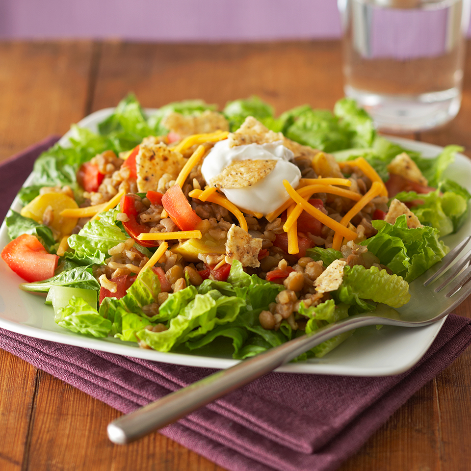 Lentils are ideal for cooking in the slow cooker. Start this recipe early in the morning and you and your family will be rewarded with a deliciously warm Mexican-inspired taco salad for dinner. Source: Diabetic Living Magazine