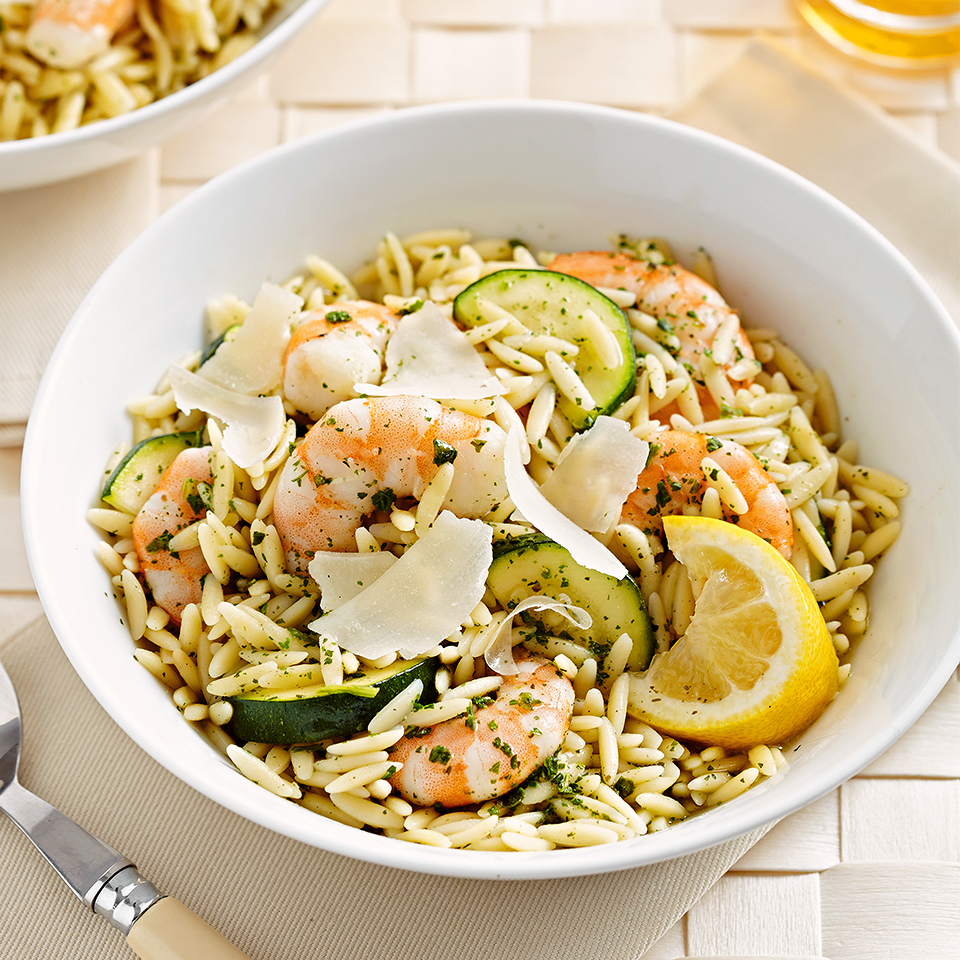 Using a packaged pesto sauce mix saves time in this 20-minute orzo pasta salad recipe.