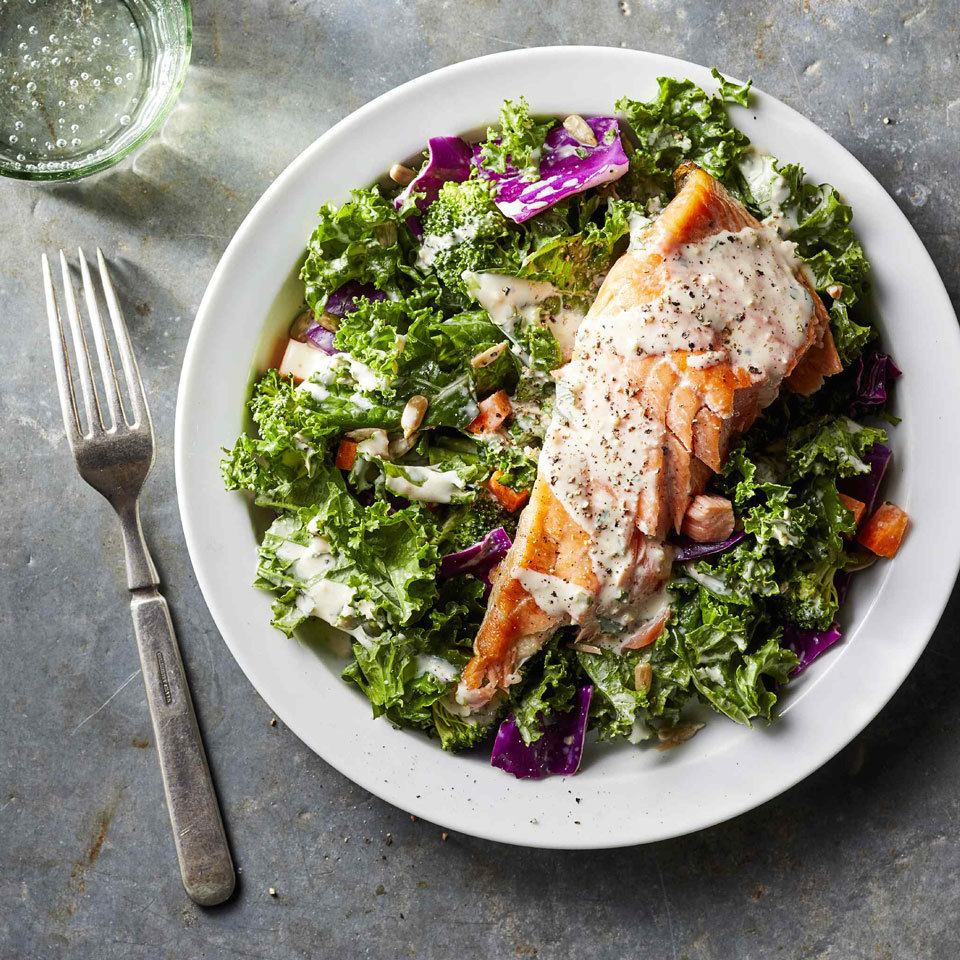 Superfood Chopped Salad with Salmon & Creamy Garlic Dressing Carolyn Casner