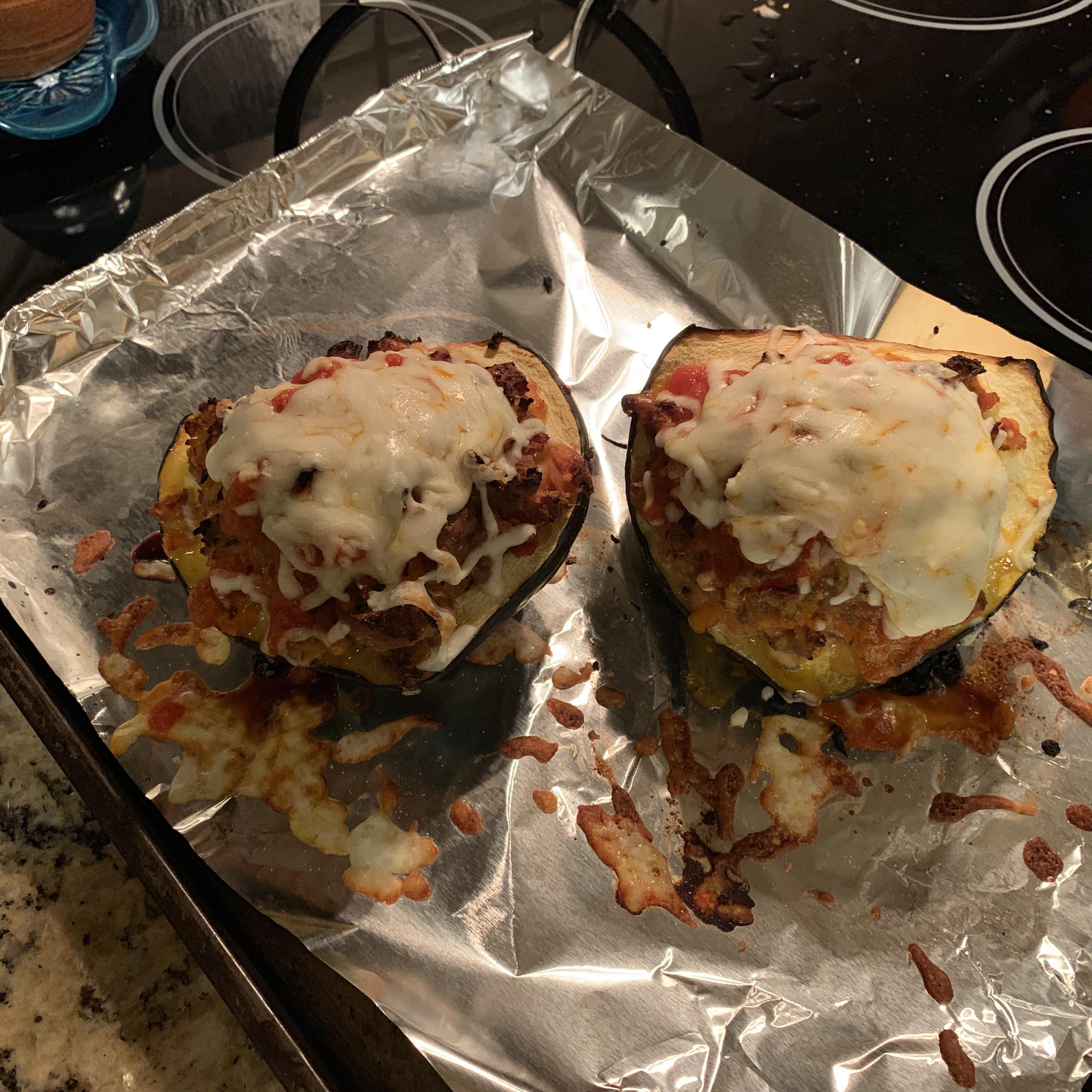 Instant Pot® Acorn Squash Stuffed with Italian Sausage pattyshaw