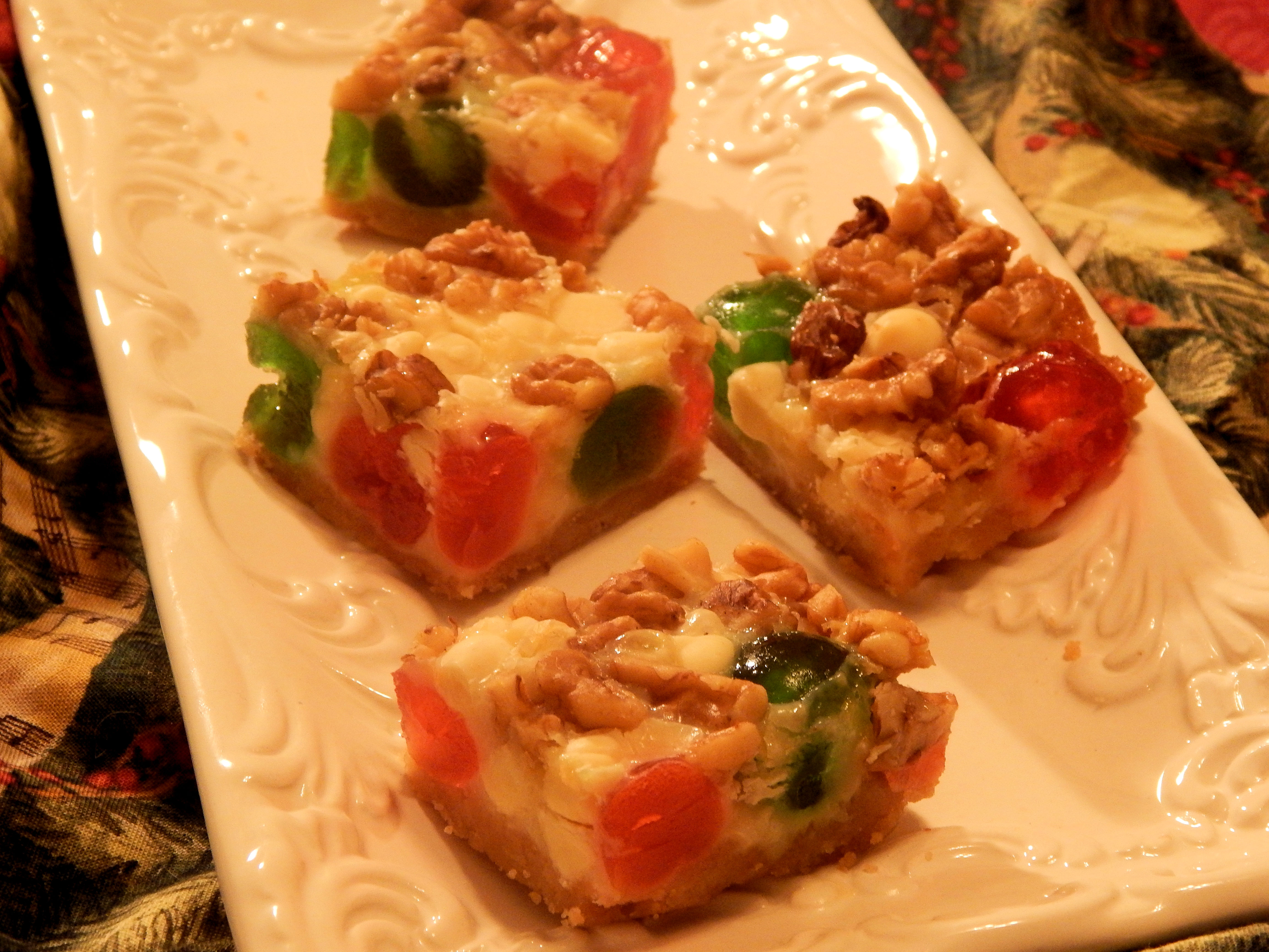 White Chocolate and Candied Fruit Magic Cookie Bars