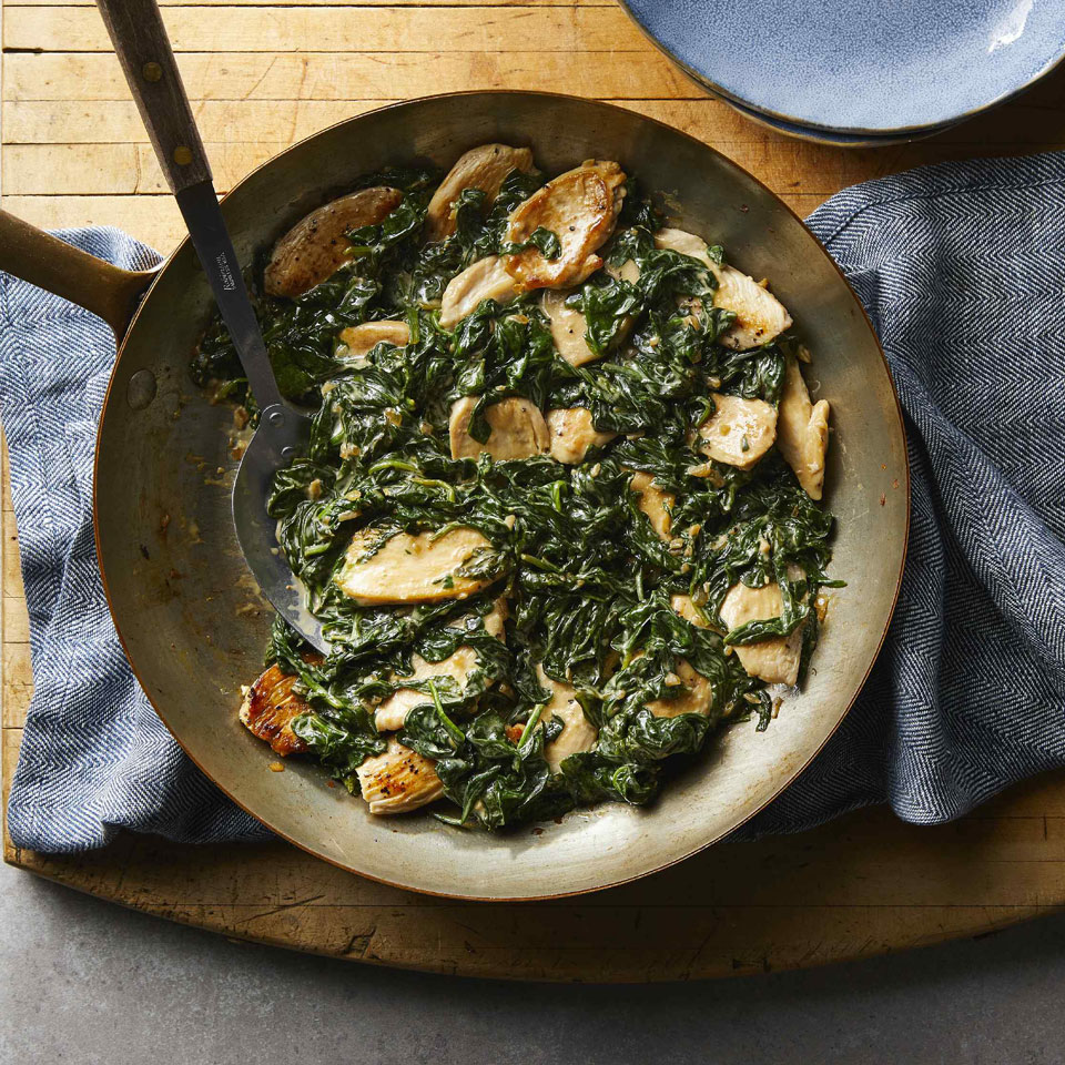 Classic chicken Florentine--creamy spinach served atop sautéed chicken cutlets--is a fast and easy meal. To keep calories lower, this recipe uses cornstarch to thicken the cream instead of cheese. This chicken recipe is simple enough for weekdays but also elegant enough for a dinner party. Source: EatingWell.com, December 2018