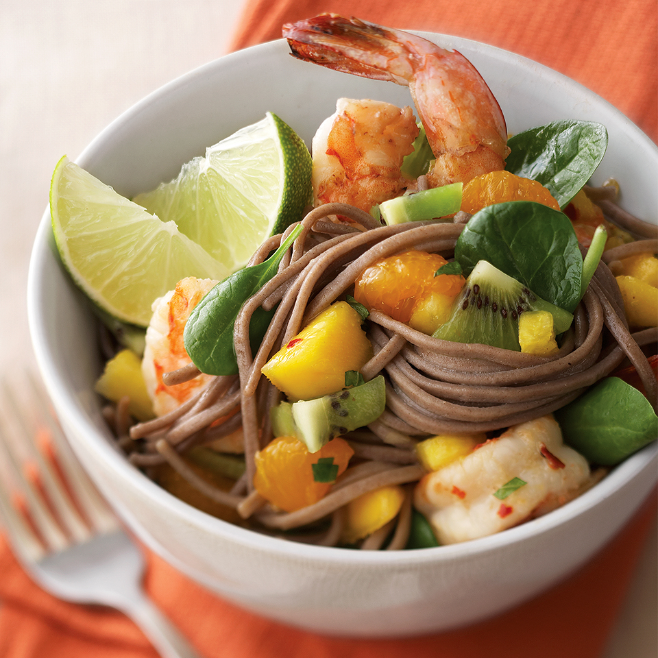 This spinach and pasta salad, topped with shrimp and a fruit salsa, is a complete meal. Large pieces of ginger-soy marinated shrimp and tropical fruit salsa with pineapple, mango, kiwifruit and mandarin oranges are gently tossed with baby spinach leaves and long strands of pasta in this tropical-inspired dish. Source: Diabetic Living Magazine