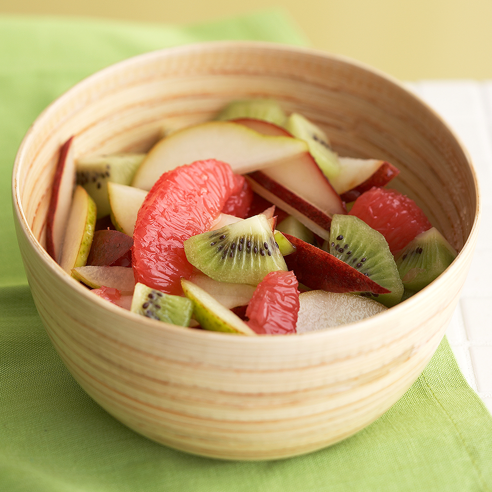 Crisp pear, juicy grapefruit, and melt-in-your-mouth kiwifruit are lightly spritzed with a simple honey-balsamic dressing in this deliciously refreshing salad, ready in just 10 minutes. Serve it alongside your main meal, or save it for dessert! Source: Diabetic Living Magazine