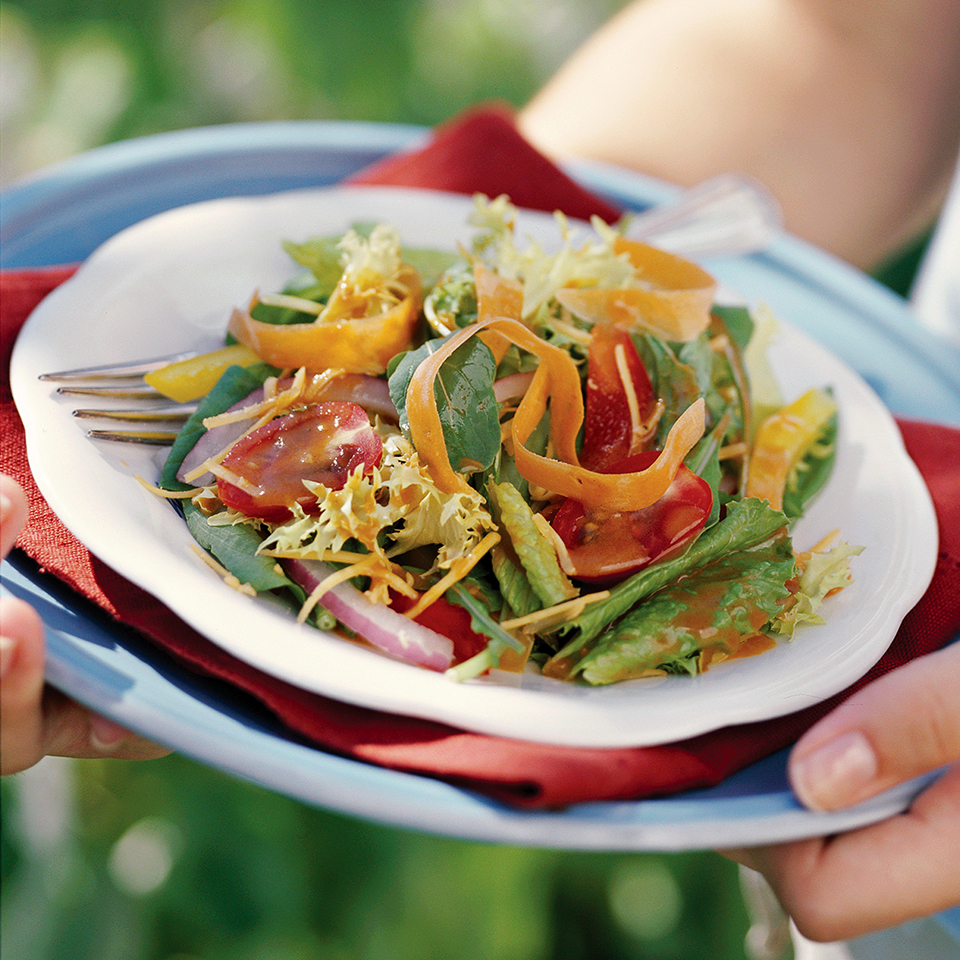 Mixed Garden Greens Salad with Homemade Low-Calorie French Salad Dressing Diabetic Living Magazine