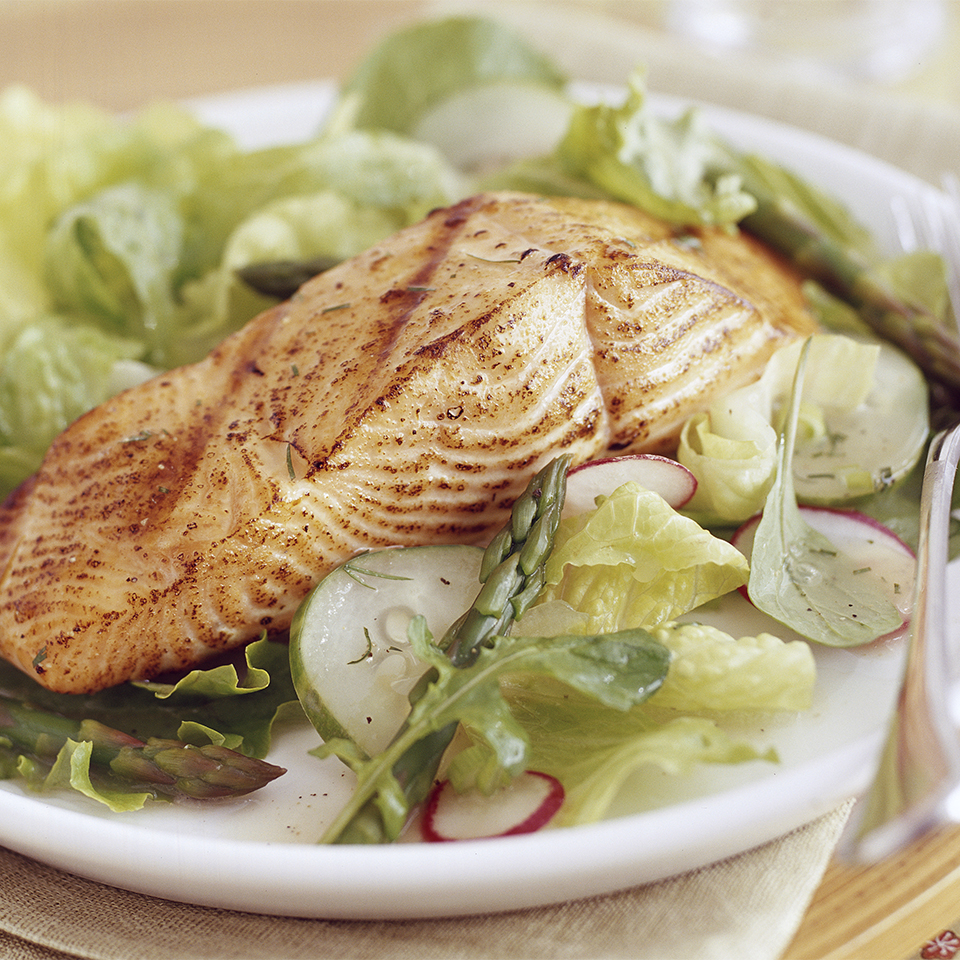 Grilled Salmon Salad with Oil-Free Vinaigrette Diabetic Living Magazine