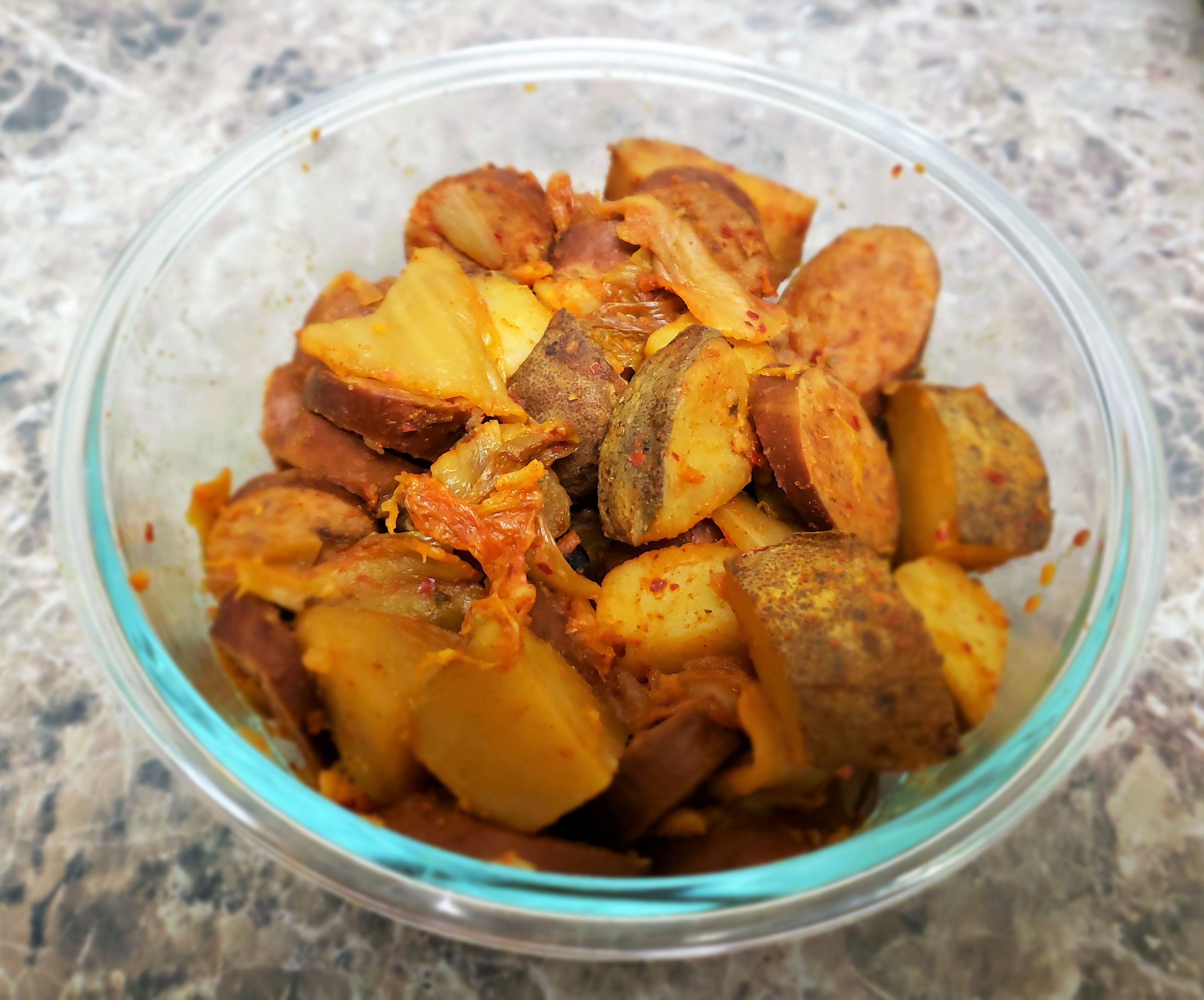 """This super-simple slow cooker recipe literally has 3 ingredients and couldn't be easier: Kielbasa, potatoes, and kimchi is all you need,"" says EverFit Montana."