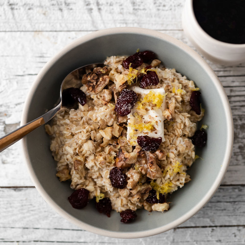 Cream cheese, dried cherries and crunchy walnuts give this overnight oats recipe a cheesecake-like flavor and creamy texture. Fresh lemon zest adds a bit of zip and a hint of sweetness from raw cane sugar blunts the tart edge of the fruit.