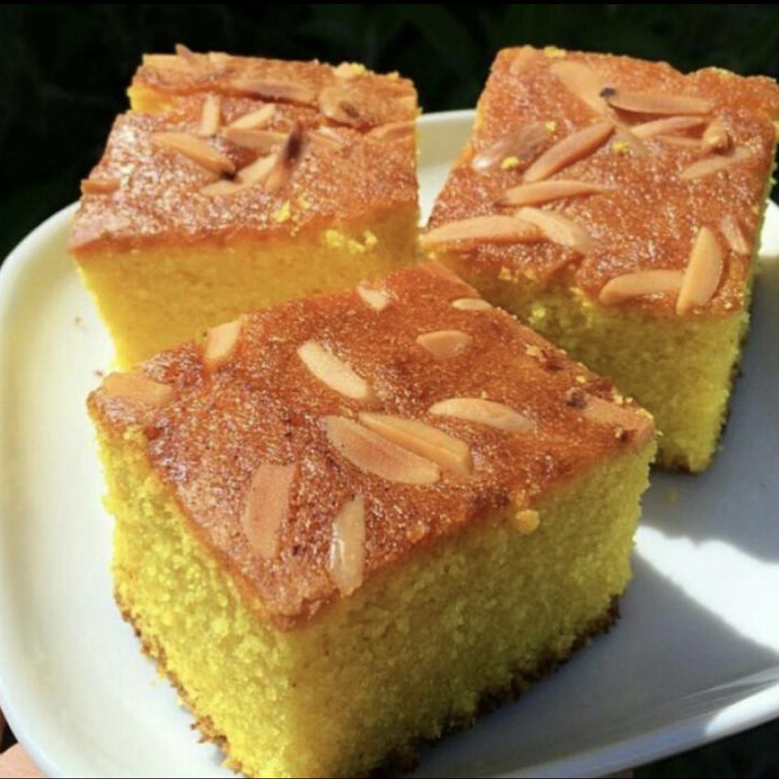 Semolina Turmeric Cake (Sfoof) Lara